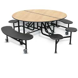 Two Bench Four Stool Round Cafeteria Table With A Powdercoat Frame
