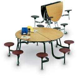 Round Folding Stool Cafeteria Table 8 Seats